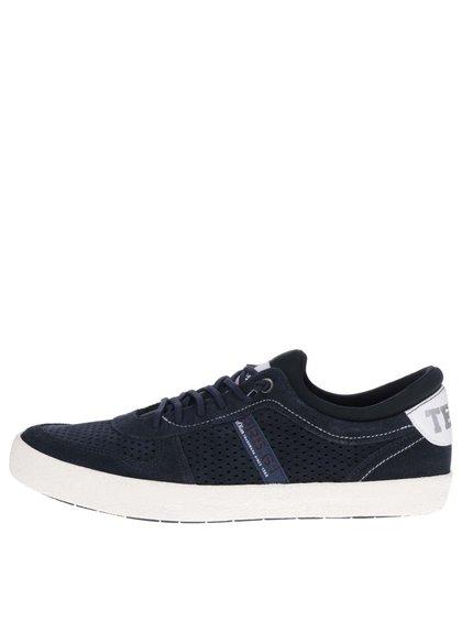 Pantofi sport albastru închis s.Oliver cu detalii din piele și model cu perforații