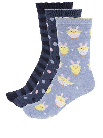 Sada tří párů dámských vzorovaných ponožek v modré barvě M&Co
