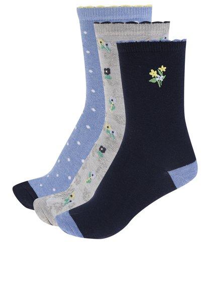 Sada tří párů dámských vzorovaných ponožek v modré a šedé barvě M&Co