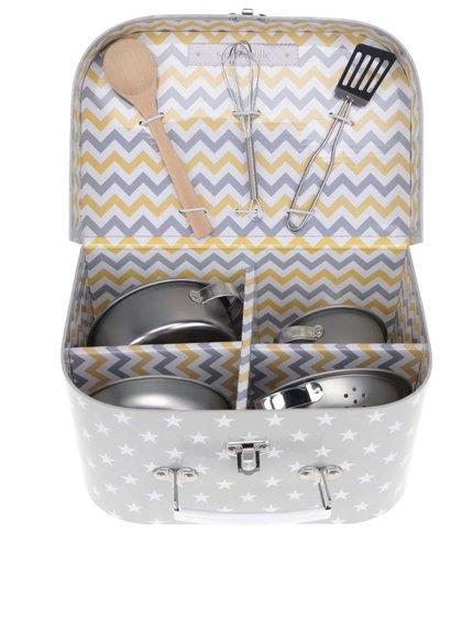 Šedý set dětského kuchyňského nádobí v kufříku Sass & Belle