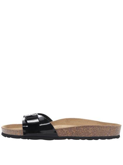 Černé dámské lesklé pantofle s přezkou a koženou stélkou OJJU