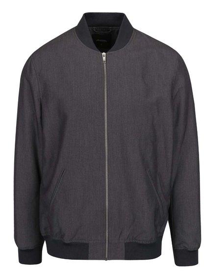 Jachetă bomber gri închis Burton Menswear London cu terminații elastice