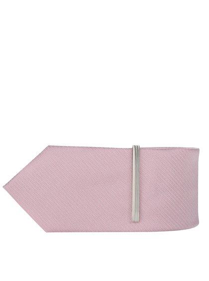 Růžová vzorovaná kravata se sponou Burton Menswear London