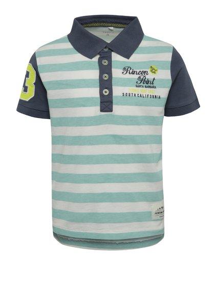 Tricou polo alb & albastru name it Kenan din bumbac organic cu model în dungi pentru băieți