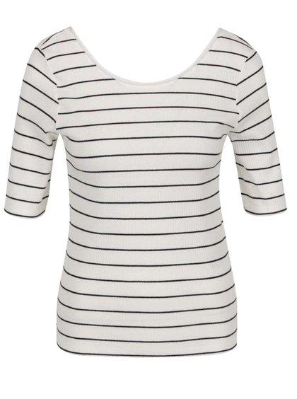 Krémové pruhované tričko s výstřihem na zádech Jacqueline de Yong Nevada