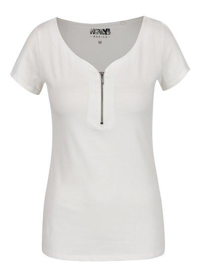 Bílé tričko se zipem ve výstřihu Haily's Pia