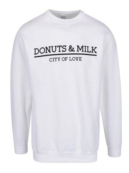 Bílá unisex mikina bez kapuce Donuts & Milk