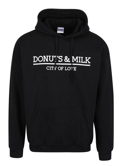 Černá unisex mikina s kapucí Donuts & Milk