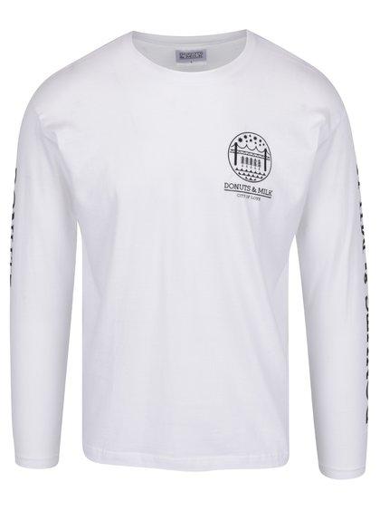 Bílé unisex triko s dlouhým rukávem Donuts & Milk