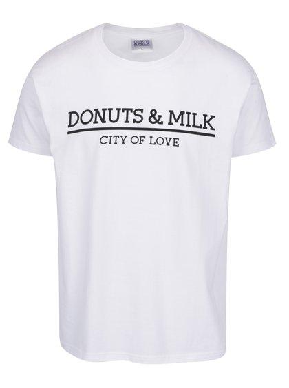 Bílé unisex triko s krátkým rukávem Donuts & Milk