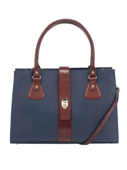 Hnědo-modrá kožená kabelka Elega Debbie