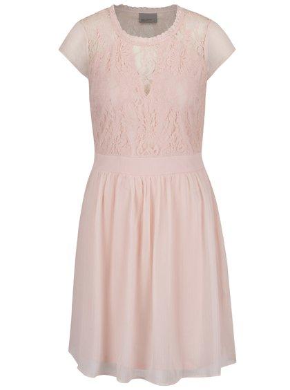 Rochie roz pal VERO MODA Anca cu inserții din dantelă