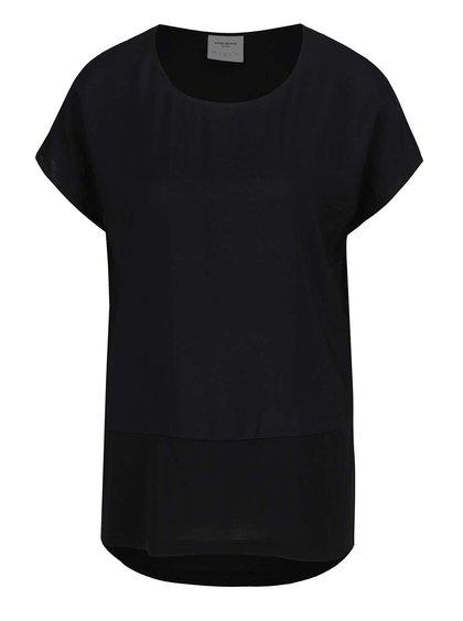 Tricou negru VERO MODA Satino cu șlițuri laterale