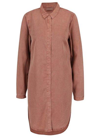 Rochie tip cămașă roz prăfuit VERO MODA Natasja cu șlițuri laterale
