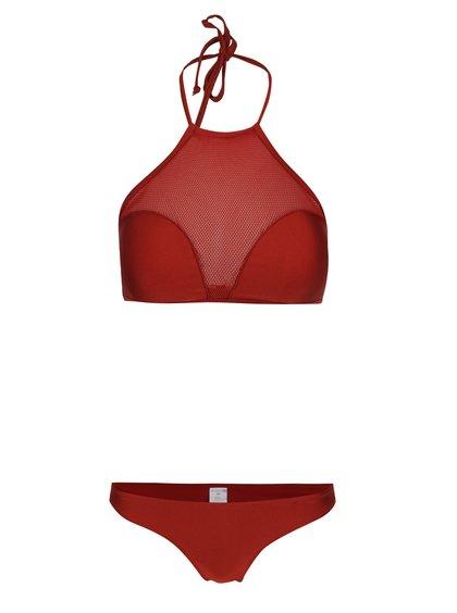Costum de baie roșu bordeaux Relleciga cu inserție din plasă