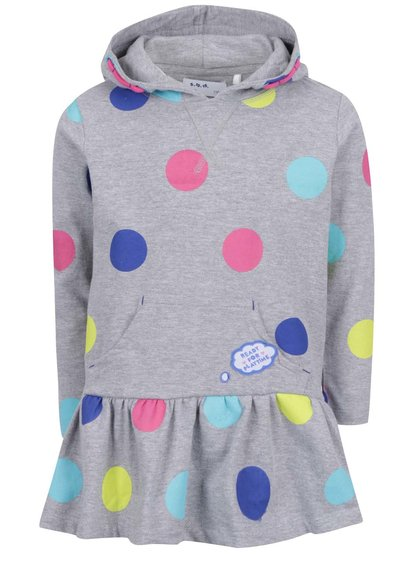Šedé holčičí šaty s barevnými puntíky 5.10.15.