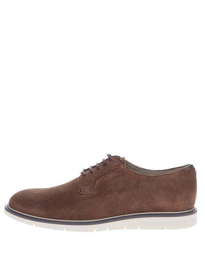 Pantofi maro Geox Uvet din piele întoarsă