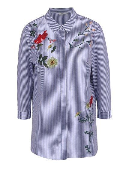 Bílo-modrá pruhovaná košile s výšivkami ONLY Drive