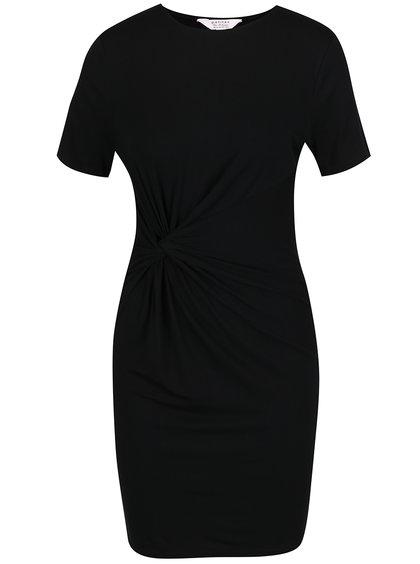 Černé šaty s řasením na boku Miss Selfridge Petites
