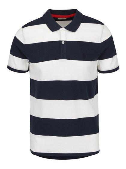 Krémovo-modré pruhované polo triko Selected Homme Aro