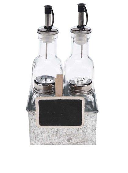 Skleněný set slánky, pepřenky a nádob na olej a ocet v kovové misce Kitchen Craft
