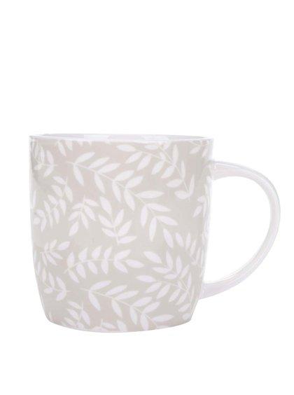 Bílo-béžový porcelánový hrnek s potiskem listů Kitchen Craft