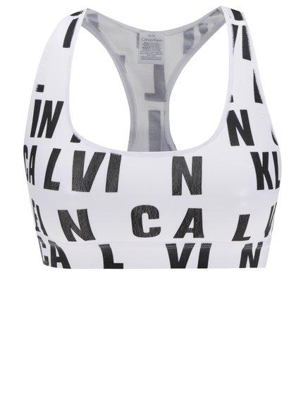 Černo-bílá sportovní podprsenka s potiskem Calvin Klein