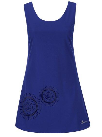 Modré šaty s perforovanou sukní Desigual Barceloneta