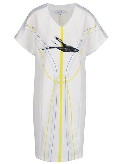 Rochie albă midi Laura Dumitrescu Swift-Flying Blackbird cu print grafic