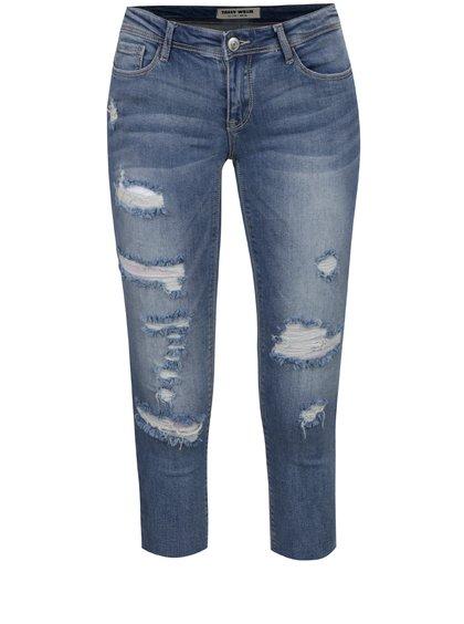 Světle modré zkrácené džíny s potrhaným efektem a nízkým pasem TALLY WEiJL