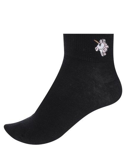 Černé kotníkové ponožky s motivem jednorožce TALLY WEiJL