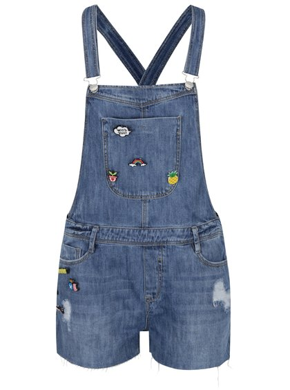Modré džínové kraťasy s laclem a plastovými  odznaky TALLY WEiJL