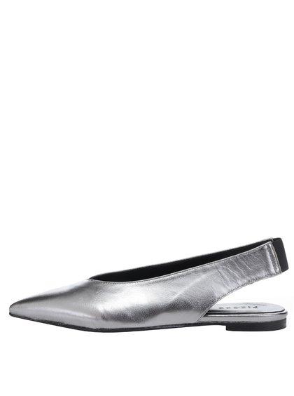Pantofi slingback argintii Pieces Nashira din piele