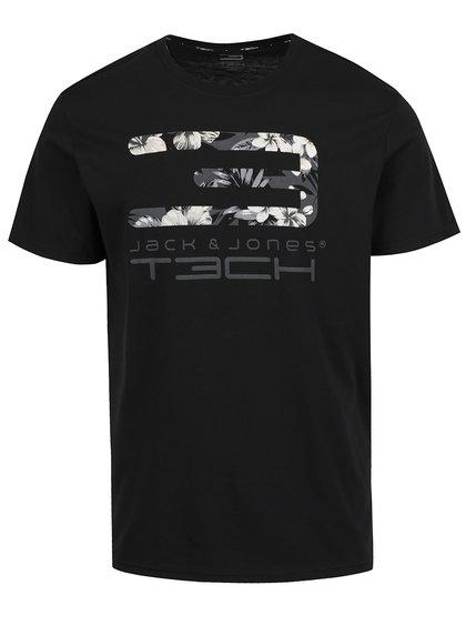 Černé triko s potiskem Jack & Jones Tropic