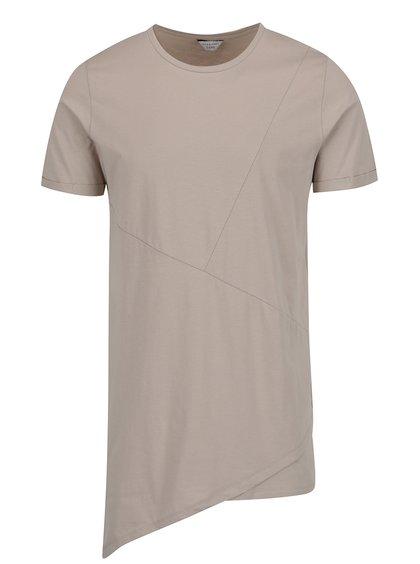 Béžové asymetrické triko s detaily Jack & Jones Borja