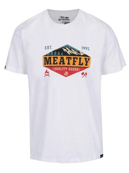 Tricou alb cu print MEATFLY Bugler pentru bărbați