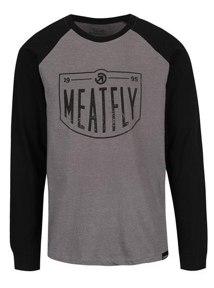 Černo-šedé pánské triko s dlouhým rukávem MEATFLY Rikker