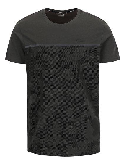 Tmavě šedé maskáčové triko Jack & Jones Camo