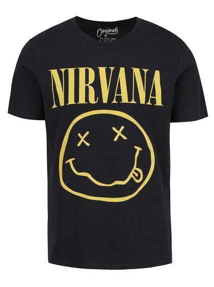 Tricou negru Jack & Jones Nirvana cu print