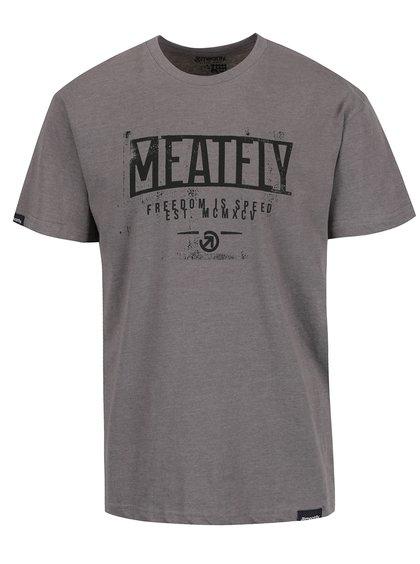 Tricou gri cu print MEATFLY Speed pentru bărbați