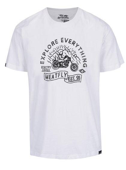 Tricou alb cu print MEATFLY Trip pentru bărbați