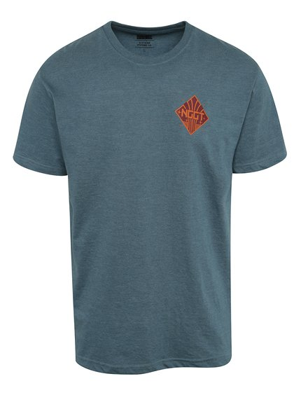 Modré pánské triko s potiskem na přední i zadní straně NUGGET Aeronaut