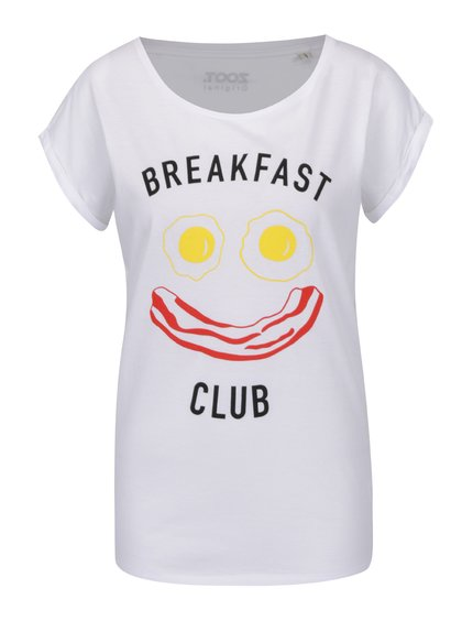 Tricou alb de damă ZOOT Originál Breakfast club cu imprimeu