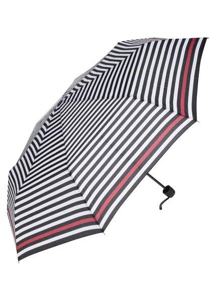 Krémovo-černý dámský pruhovaný deštník s červeným pruhem Derby