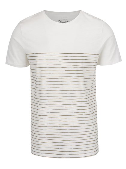 Tricou alb Jack & Jones Artwork cu model în dungi
