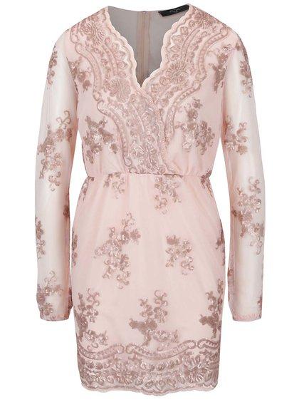 Světle růžové šaty s krajkou a dlouhým rukávem AX Paris