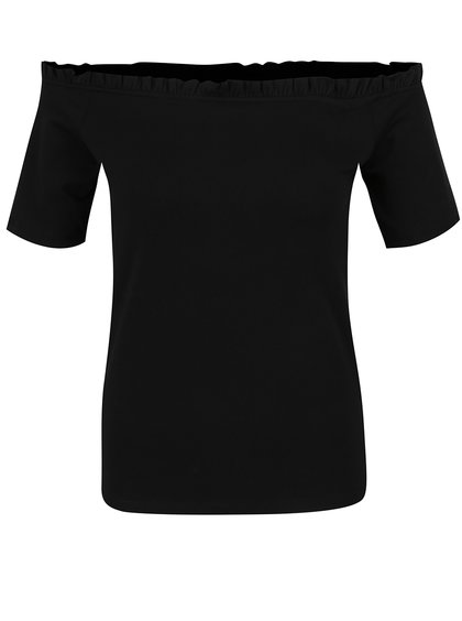 Černé tričko s odhalenými rameny a volánem Dorothy Perkins