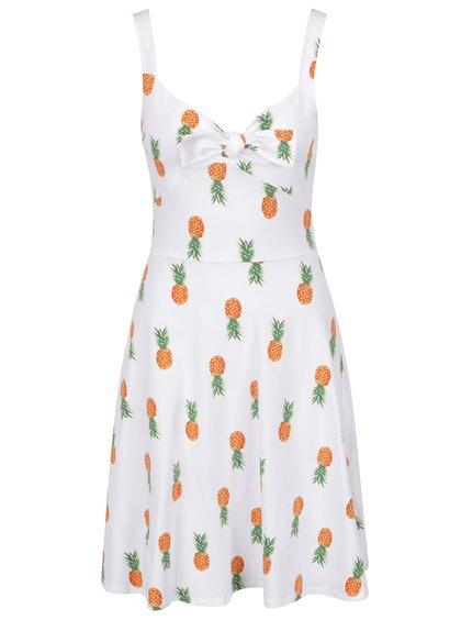 Bílé šaty s mašlí v dekoltu a potiskem ananasů Dorothy Perkins