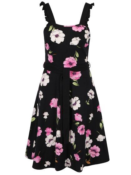 Černé květované šaty se zavazováním v pase Dorothy Perkins