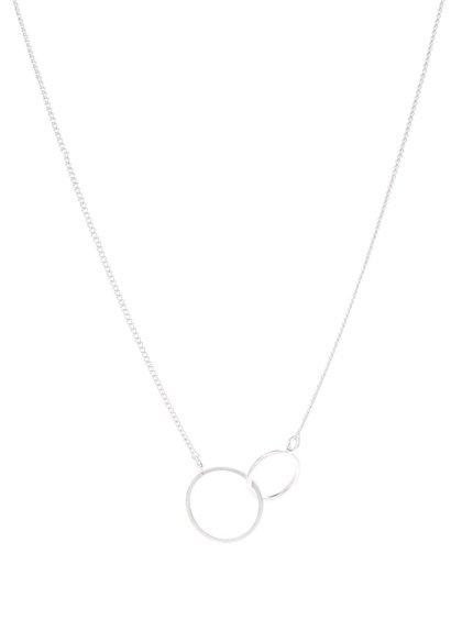 Postříbřený řetízek s přívěskem ve tvaru dvou kruhů Pilgrim